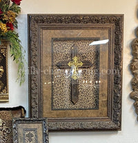 Visser Framed Cross with Leopard FREE SHIPPING