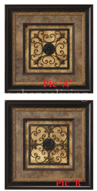 Visser Framed Art Square Iron Scroll Panel