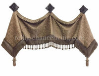 Decorative Valance and Jabots Style #2 Available in Any of our Fabrics (shown in Champagne)