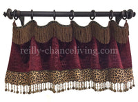 Decorative Valance Style #2 Available in Any of our Fabrics (Shown here in Red Croc/Leopard)