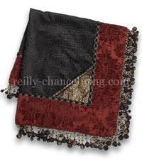 Black croc. and burgundy damask chenille square