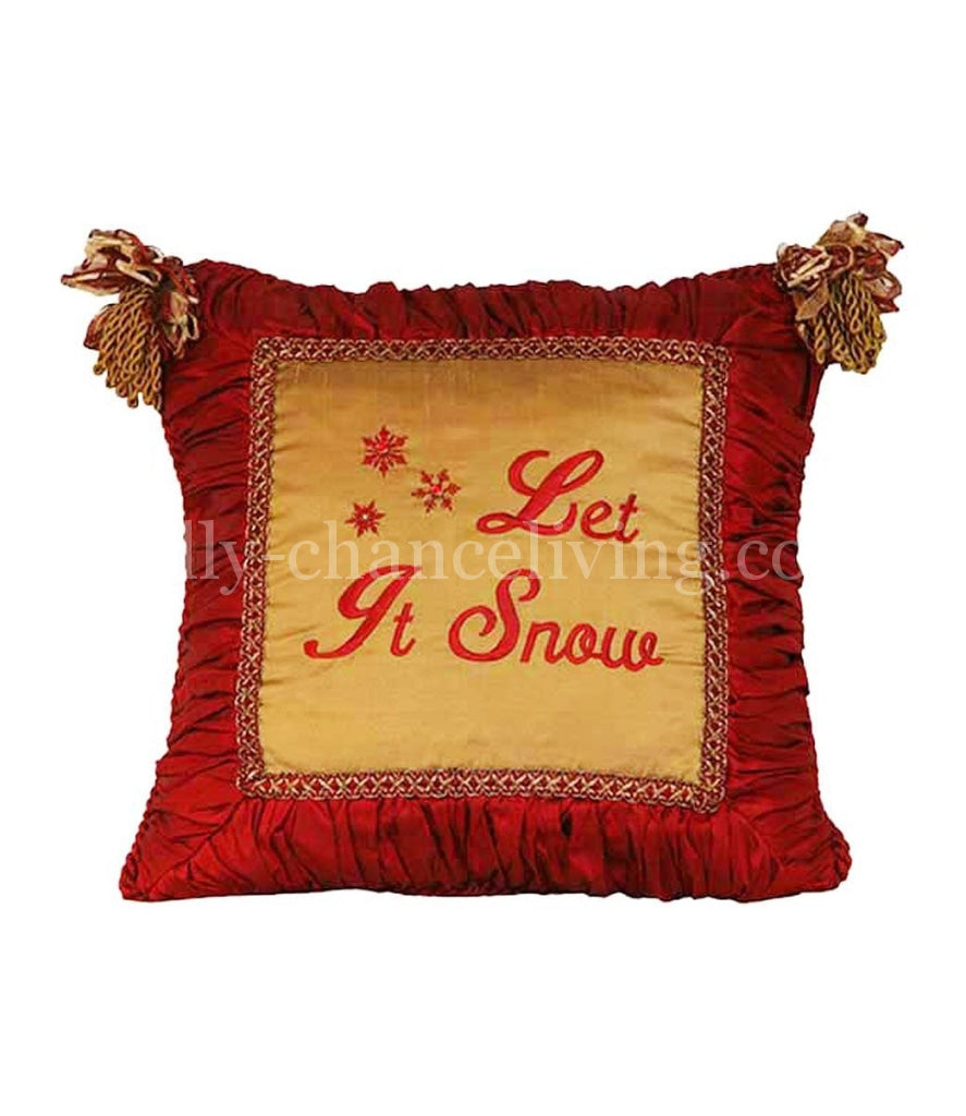 Let It Snow Tassle Pillow Holiday Pillows