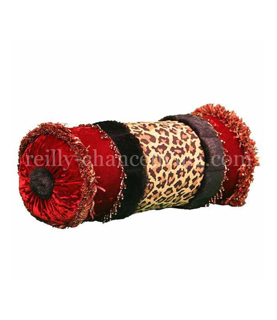 Red And Animal Print Bolster Holiday Pillows