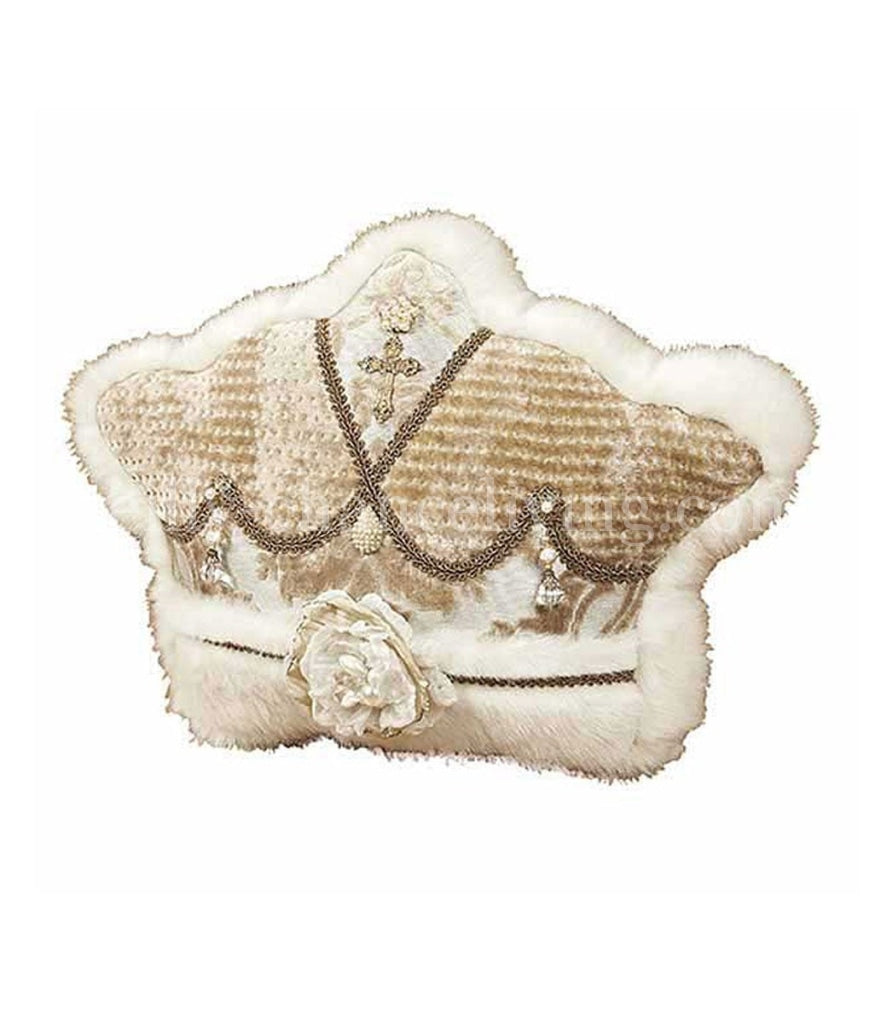 Cream And Gold Crown Christmas Pillow Holiday Pillows