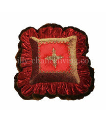 Red and Cheetah Jeweled Cross Christmas Pillow