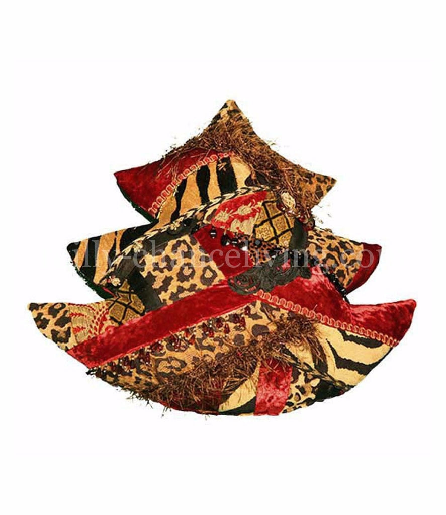 Red And Gold Christmas Tree Pillow Holiday Pillows
