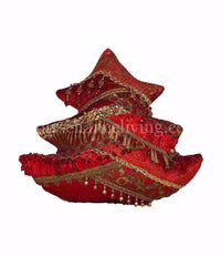 Red and Gold Christmas Tree Pillow