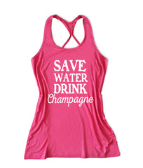 Save water drink champagne Women's Fitness Tank Top -X 1003