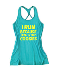 I run because I really like cookies Women's Running Tank Top -X 1016