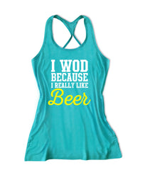 I WOD because I really like beer  Women's Fitness Tank Top -X 1062
