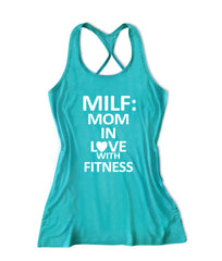 Milf mom in love with fitness Women's workout Fitness Tank Top -X 1122