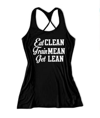Eat clean train mean get lean Women's Fitness Tank Top -X 712