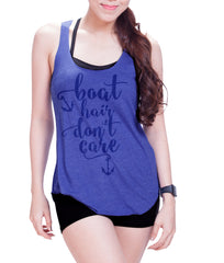 Boat hair don't care Eco Cotton blend Racerback Tank Top  Funny Shirts - E 8026