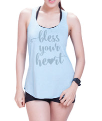 Bless your heart Eco Cotton blend Racerback Tank Top  Funny Shirts - E 8027