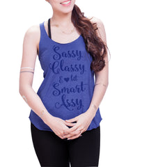 Sassy Classy & smart assy Eco Cotton blend Racerback Tank Top  Fitness Tank Top - E 8028