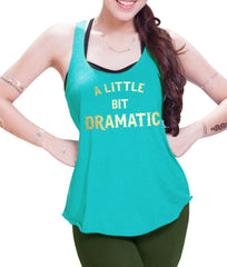 a little Dramatic  Gold Print Eco Cotton blend Racerback Tank Top  Funny Shirts - E 9069
