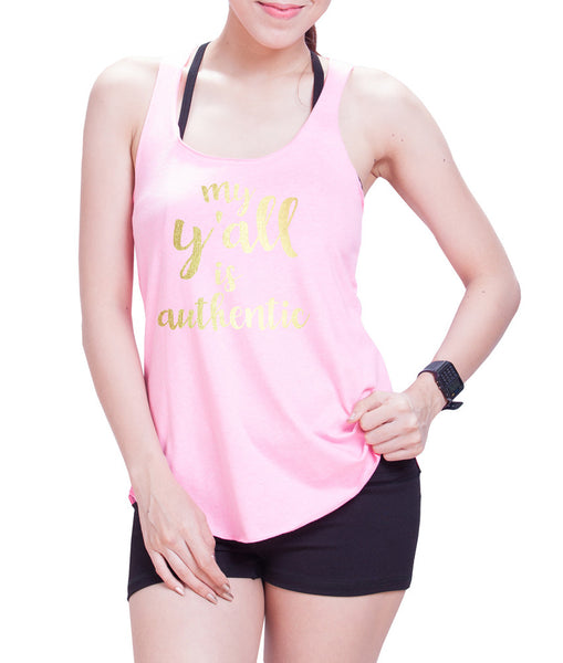 My Y' All is Authentic Eco Cotton blend Racerback Tank Top  Fitness Tank Top - E 9073