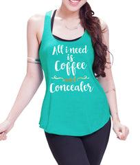 All I Want is Coffee and Concealer Eco Cotton blend Racerback Tank Top  Lift Crossfit Tank Top - E 9074