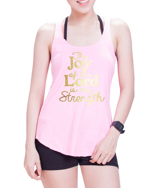 The Joy Of The Lord Is My Strength  Eco Cotton blend Racerback Tank Top- E 9077
