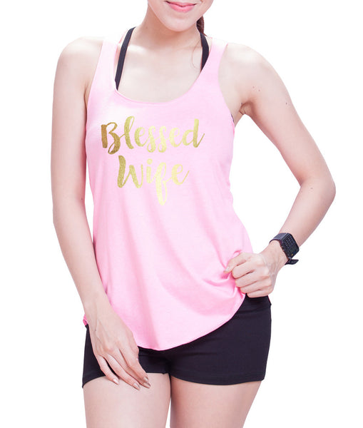 Blessed Wife Gold Print Eco Cotton blend Racerback Tank Top- E 9082