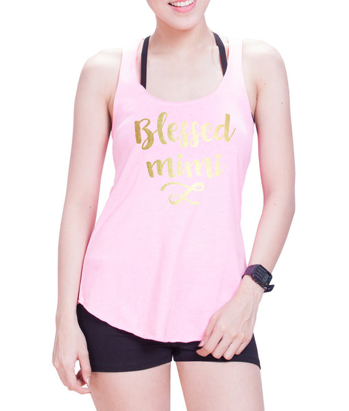 Blessed mimi Eco Cotton blend Racerback Tank Top- E 9086