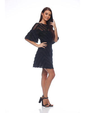 Texture Flutter Sleeve Dress