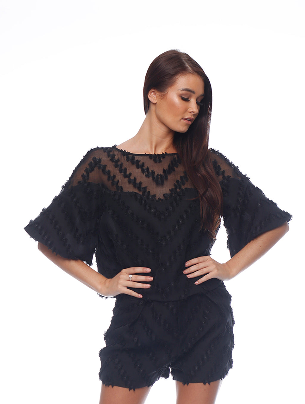 Texture Flutter Sleeve Top