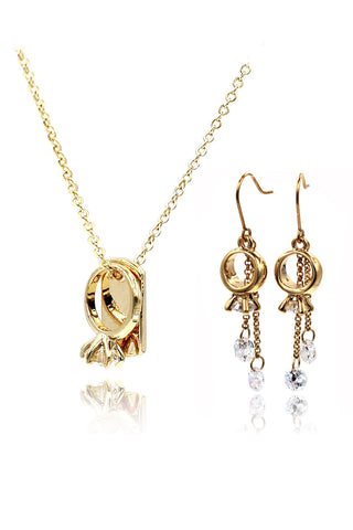 shimmering gold crystal Ring necklace set