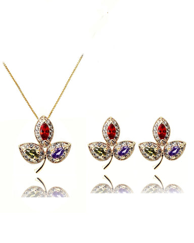double love crystal necklace earrings set