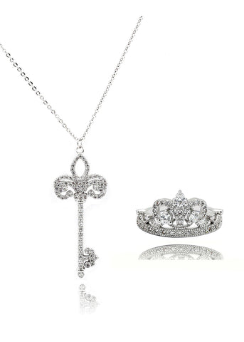 six prong crystal ring pendant necklace set