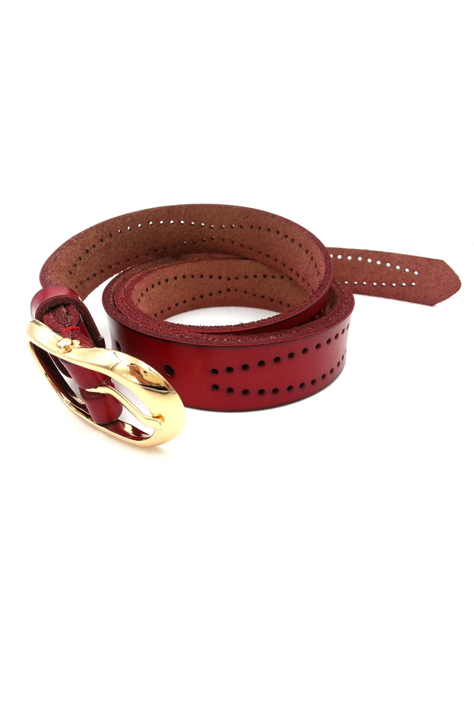 Ruby Red Leather Belt