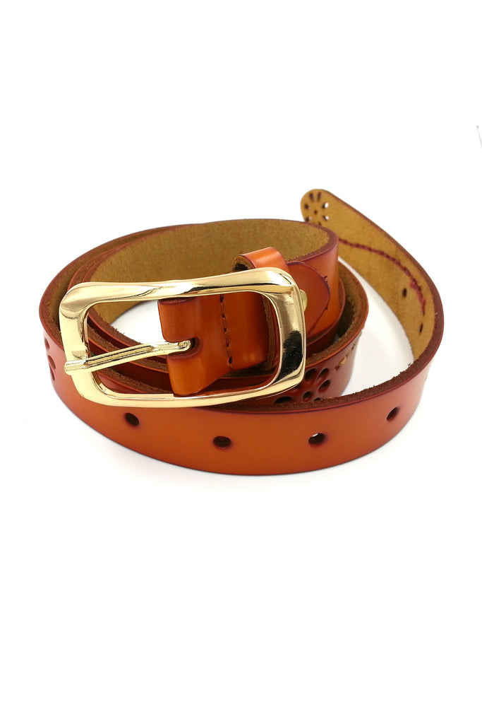 Gold buckle Orange Leather Belt