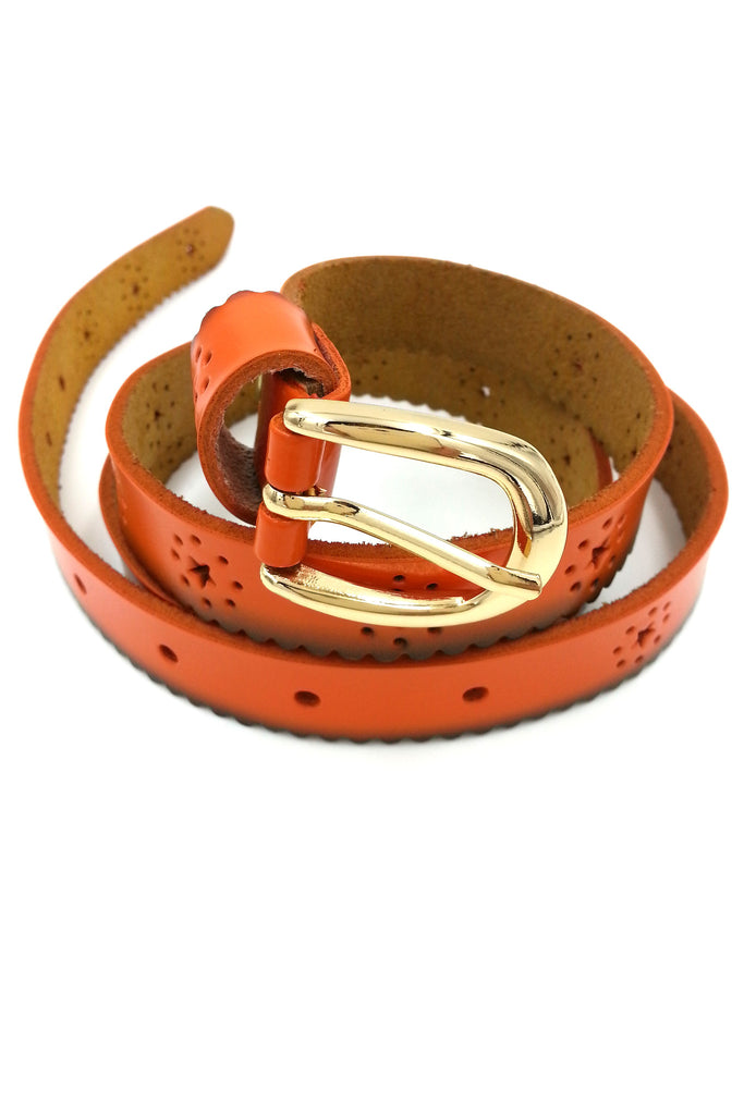 Orange Stars Leather Belt