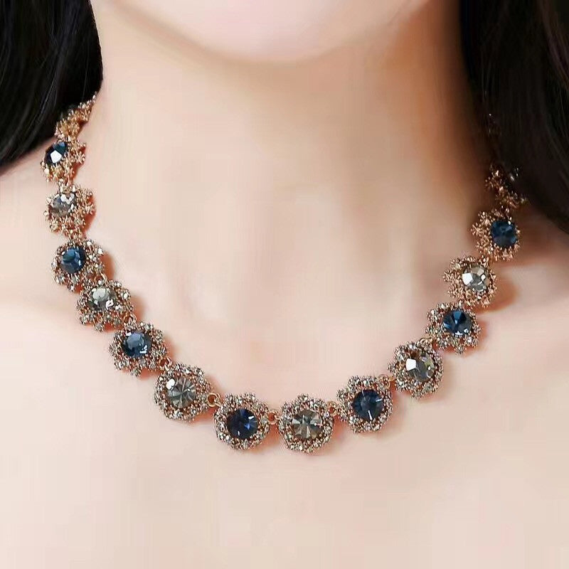 noble colorful swarovski crystal necklace earrings set