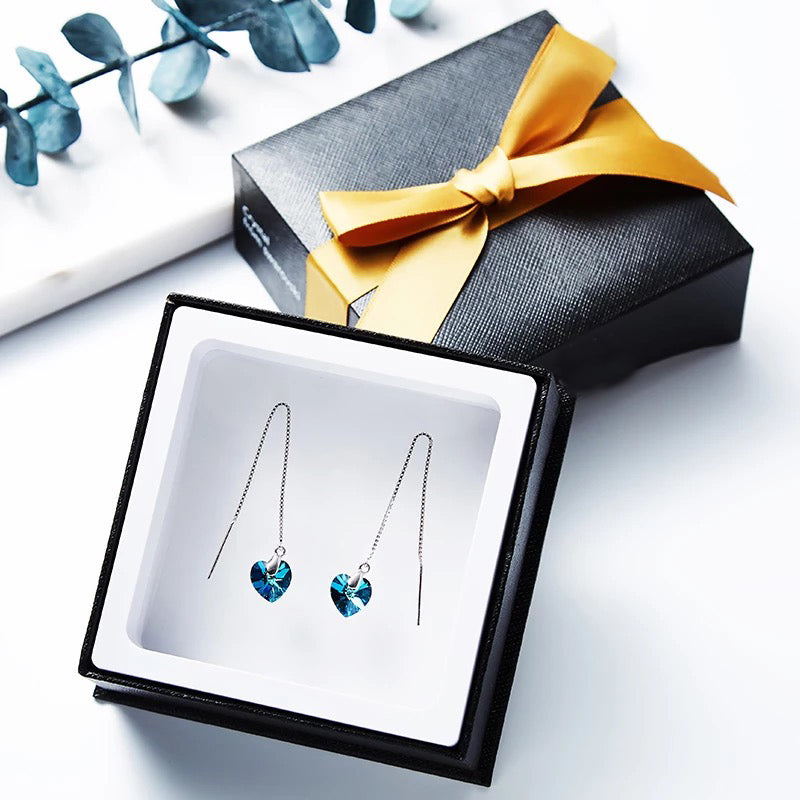 swarovski crystal pendant ocean heart earrings