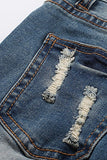 Stretch destroyed denim