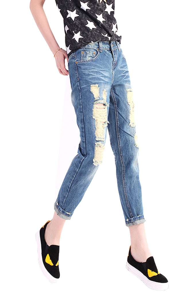 Nine hole collapse cuff denim