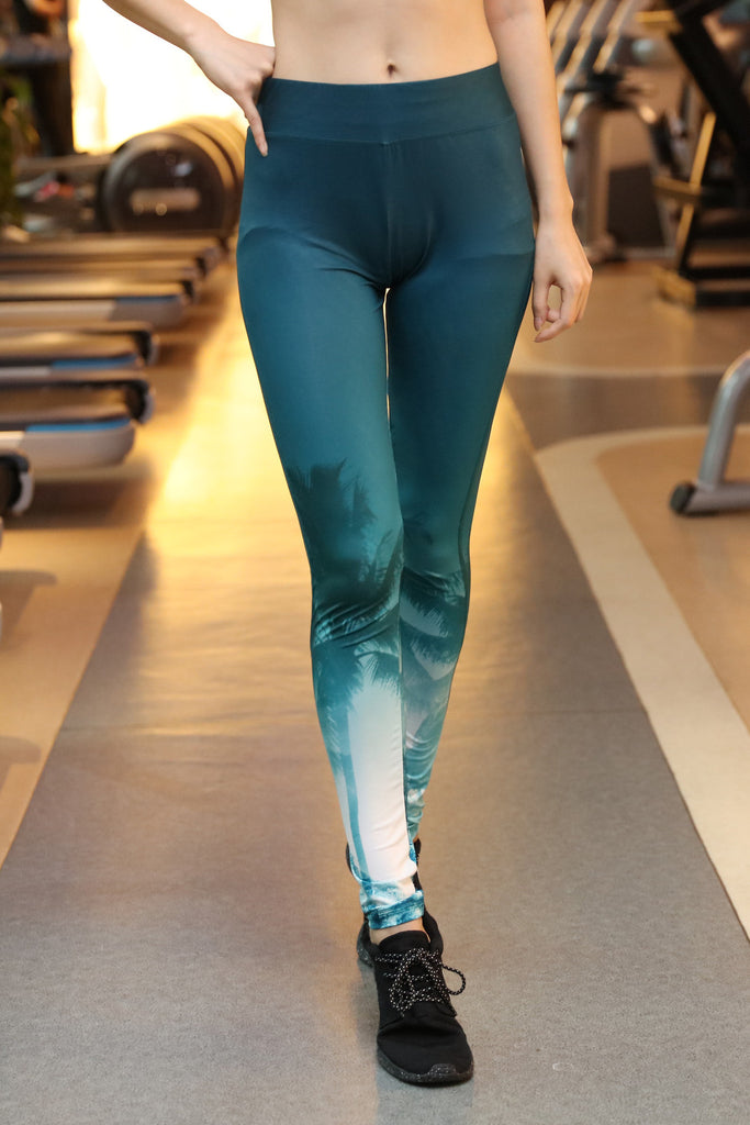 green gradient white pattern hips leggings