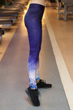 blue gradient white pattern hips leggings