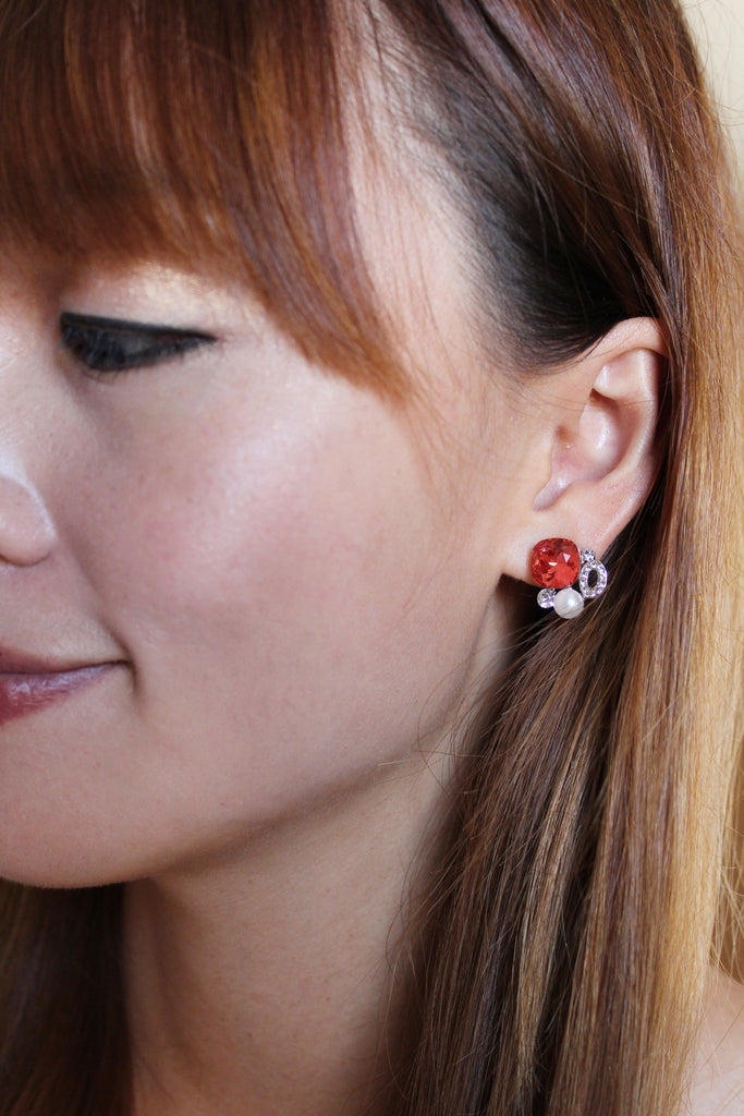 Orange red crystal earrings