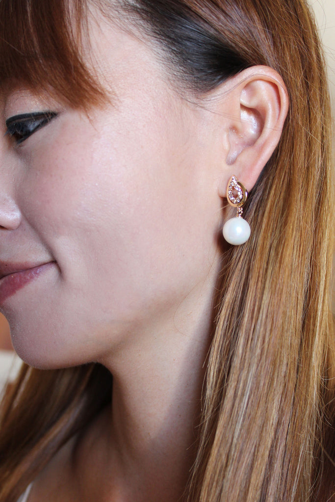 fashion pearls crystal earrings