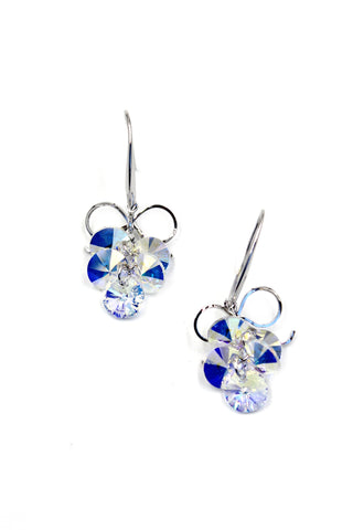 elegant tambourine crystal silver earrings