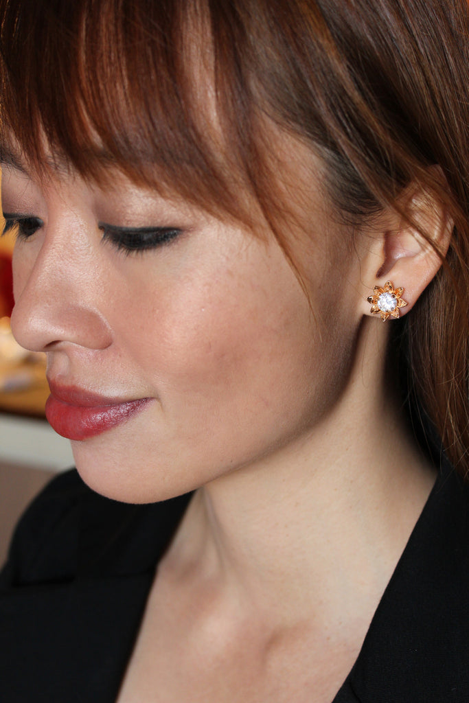 Sunflower crystal flower earrings