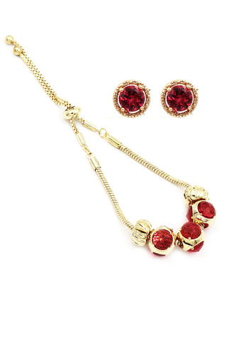 small pendant crystal necklace ring set