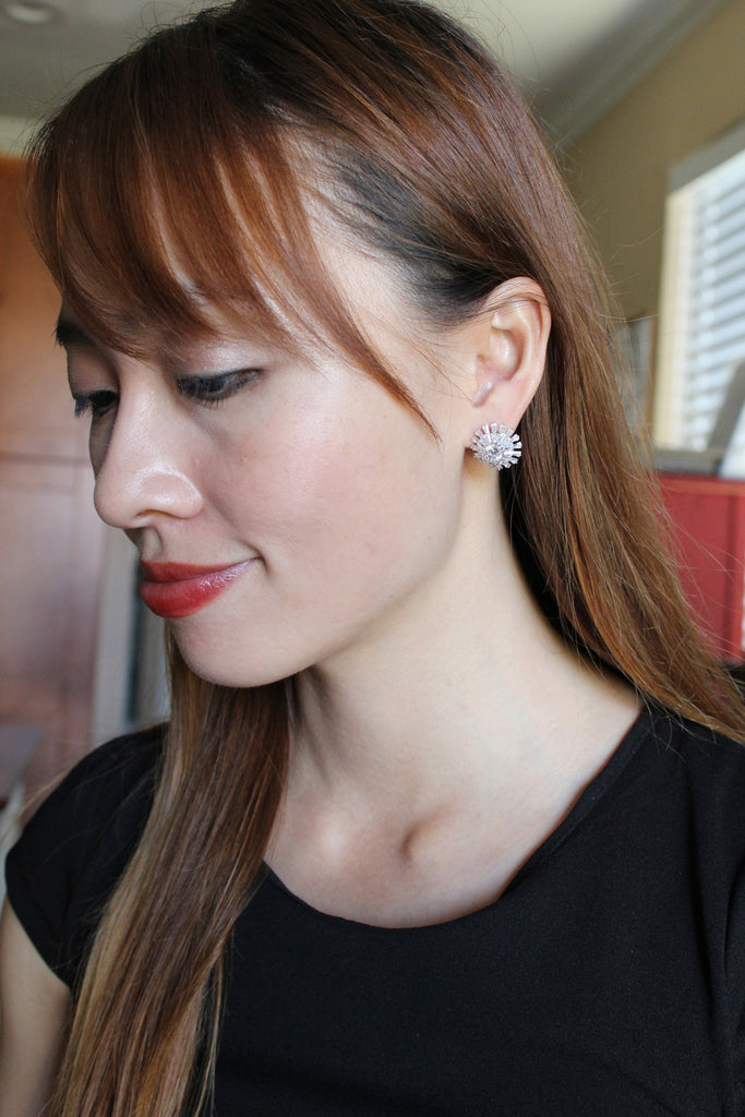 shining crystal layer earrings