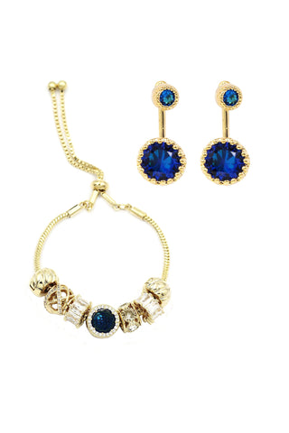 simple duplexes crystal necklace earrings set