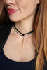 fashion double-chain black crystal choker