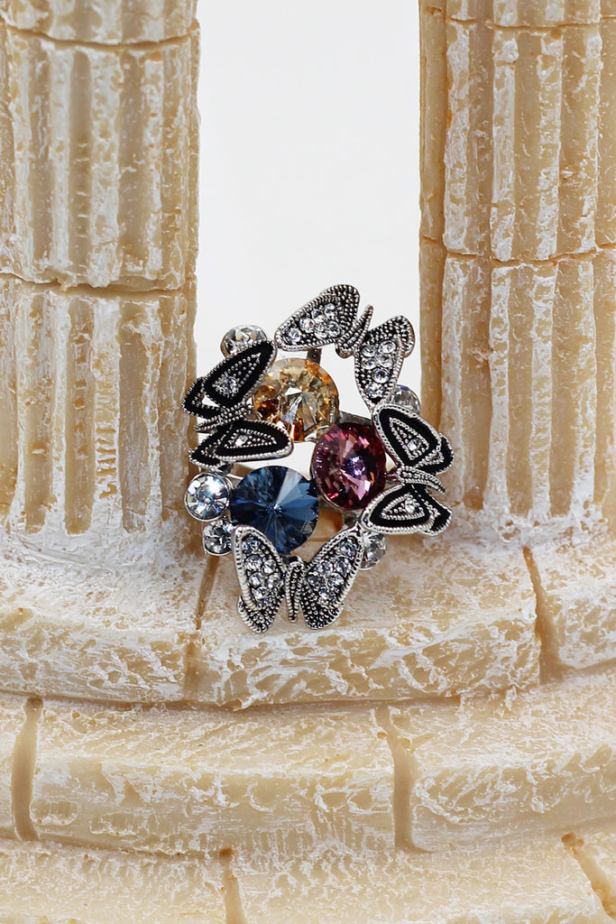 Crystal Butterfly tricolor  rings