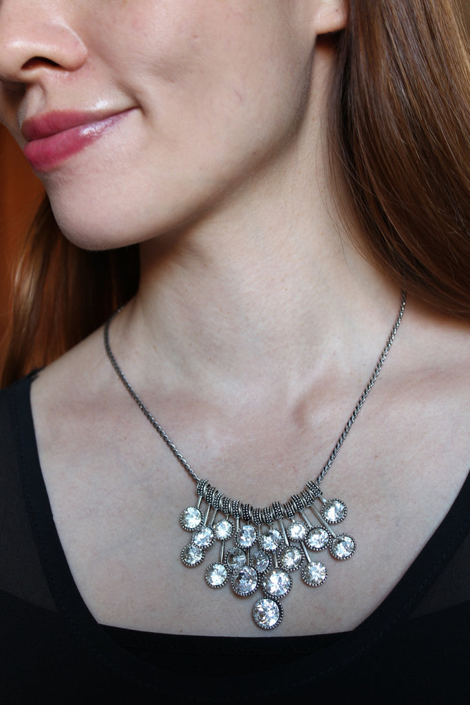 frosted metal ball trend necklace ring set