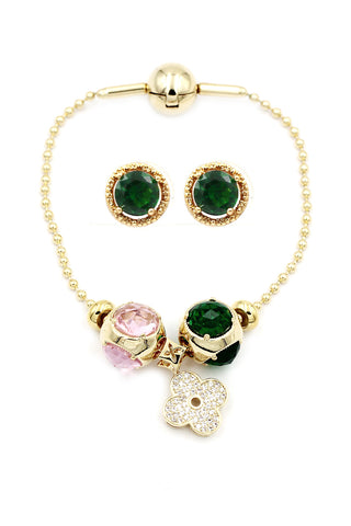 fashion green crystal bracelet necklace set